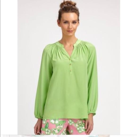 0da962d292df3 Lilly Pulitzer Tops - Lily Pulitzer Elsa Silk Solid Green Blouse